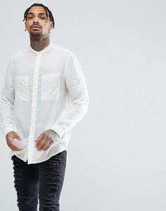 Белая длинная рубашка классического кроя из вискозы с воротником на пуговице ASOS - Белый