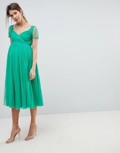 Платье миди из тюля с прозрачными рукавами ASOS MATERNITY - Зеленый