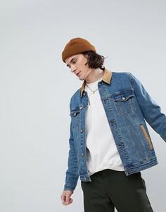 Облегающая джинсовая куртка с вельветовым воротником ASOS - Синий
