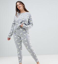Пижамные лонгслив и леггинсы с принтом молний ASOS DESIGN Curve - Серый
