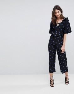 Комбинезон с широкими штанинами и цветочным принтом Fashion Union - Синий