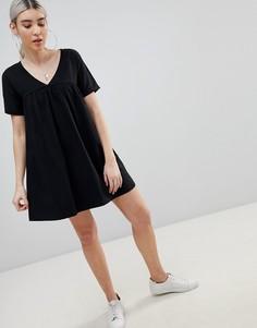 Свободное хлопковое платье ASOS DESIGN - Черный
