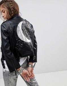 Байкерская куртка из искусственной кожи со вставкой на спине Native Rose - Черный