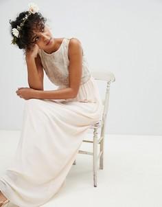 Платье макси с отделкой пайетками на лифе TFNC - Розовый