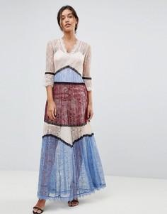 Кружевное платье макси в стиле колор блок Morgan Premium - Мульти