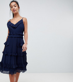 Плиссированное приталенное платье с оборками True Decadence Petite Premium - Темно-синий