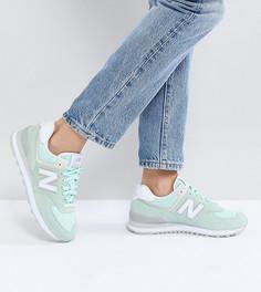 Замшевые кроссовки New Balance 574 - Зеленый