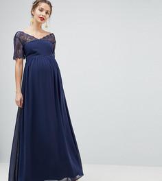 Платье макси с кружевом ASOS DESIGN Maternity - Темно-синий