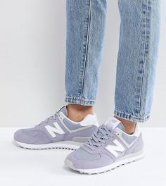Сиреневые замшевые кроссовки New Balance 574 - Фиолетовый