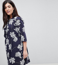 Короткое приталенное платье с цветочным принтом и оборкой Junarose - Темно-синий