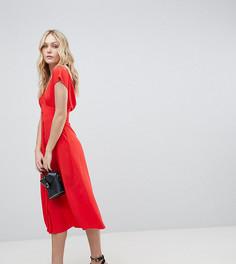 Платье миди на пуговицах ASOS DESIGN Tall - Оранжевый