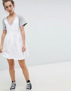 Свободное платье мини с V-образным вырезом и контрастными рукавами ASOS DESIGN - Мульти