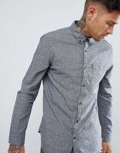 Оксфордская рубашка из серого меланжа New Look - Черный