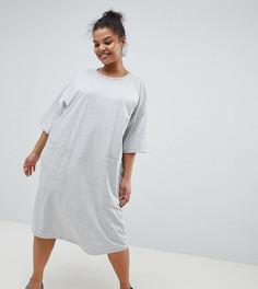 Платье-футболка бойфренда с карманами ASOS DESIGN Curve - Серый