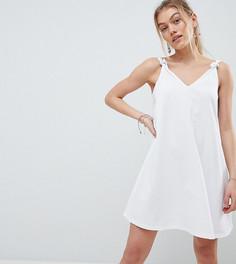 Свободное платье мини с декоративными узлами на бретелях ASOS DESIGN Petite - Белый