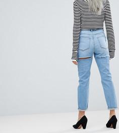 Светлые джинсы узкого кроя в винтажном стиле с завышенной талией ASOS PETITE FARLEIGH - Синий