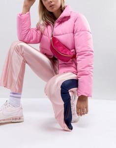 Ярко-розовая бархатная сумка-кошелек на пояс Mi-Pac - Розовый