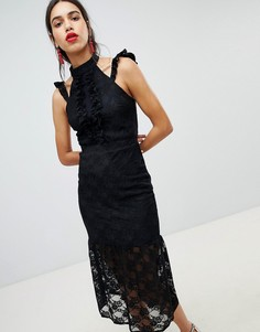 Кружевное облегающее платье миди с оборками Lost Ink - Черный