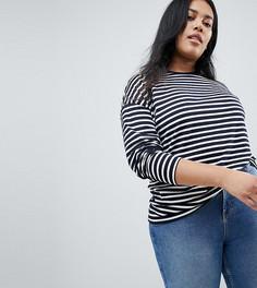 Oversize-футболка в полоску с длинными рукавами ASOS CURVE - Мульти