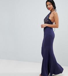 Платье макси с кружевным топом, американской проймой и завязкой на спине Jarlo Petite - Темно-синий