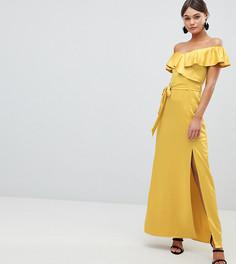 Платье макси с открытыми плечами и завязкой на талии Silver Bloom - Желтый