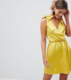 Короткое приталенное платье с глубоким вырезом и завязками на плечах Silver Bloom - Желтый
