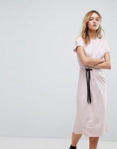 Платье миди с завязкой сбоку Cheap Monday - Розовый