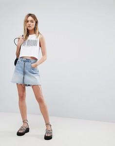 Джинсовая мини-юбка с молнией Cheap Monday - Синий