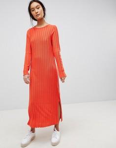 Платье миди в рубчик с плиссировкой ASOS DESIGN - Красный