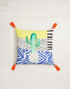 Хлопковая подушка с принтом и кисточками Ian Snow - Мульти