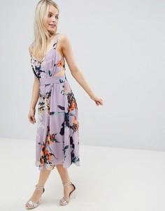 Платье миди с цветочным принтом и вырезом сбоку ASOS DESIGN - Мульти