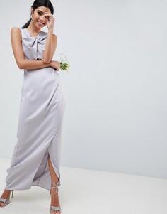 Платье макси с перекрученной отделкой и искусственным жемчугом ASOS DESIGN Bridesmaid - Розовый