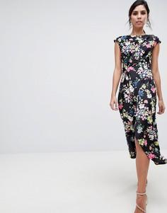 Платье миди с драпировкой и цветочным принтом ASOS DESIGN - Мульти