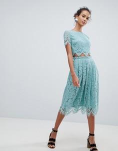 Кружевная комбинируемая юбка миди New Look - Зеленый