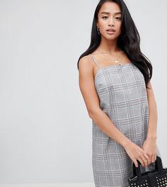 Платье мини в клетку с квадратным вырезом ASOS DESIGN Petite - Мульти