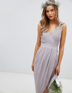 Платье миди с запахом и отделкой на плечах TFNC Bridesmaid - Серый