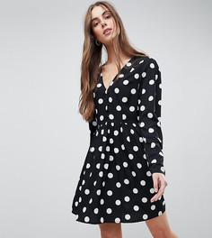 Чайное платье в крупный горошек ASOS DESIGN Tall - Мульти