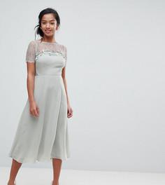 Платье миди с кружевом и цветочной отделкой ASOS PETITE - Зеленый