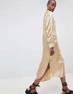 Атласное oversize-платье в стиле вестерн ASOS WHITE - Светло-бежевый
