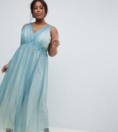 Платье макси из тюля с вышивкой Little Mistress Plus - Синий