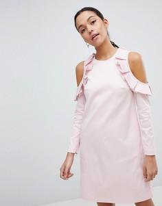 Платье в полоску с оборками Ted Baker - Белый