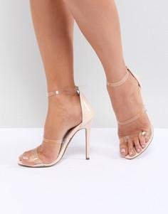 Босоножки на каблуке с прозрачными ремешками Missguided - Бежевый
