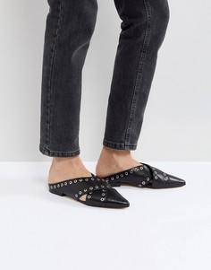 Туфли на плоской подошве с люверсами Sol Sana - Черный