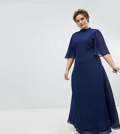 Платье макси с высоким воротом и расклешенными рукавами TFNC Plus - Темно-синий