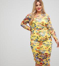 Сетчатое платье-футляр с цветочным принтом ASOS CURVE - Мульти