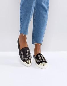 Атласные кроссовки с бисерной надписью LOVE Miss KG - Черный