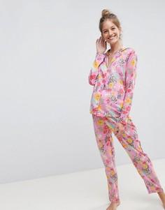 Пижамный комплект с рубашкой и брюками из 100% модала с цветочным принтом ASOS MATERNITY - Мульти