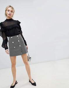 Двубортная мини-юбка в полоску ASOS DESIGN - Мульти