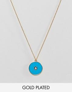 Позолоченное ожерелье с эмалированной подвеской Orelia - Золотой