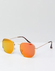 Золотистые солнцезащитные очки с розовыми стеклами River Island - Золотой